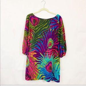 Trina Turk silk peacock feather print dress